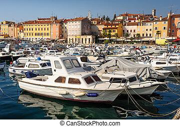 Marina of Rovinj town, Croatia