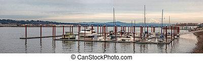 Marina on Columbia River Panorama
