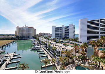 Marina and luxury hotel high rises in Sarasota, Florida.