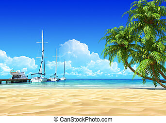 Marina pier and palms on empty idyllic tropical sand beach. No noise, clean, extremely detailed 3d render. Concept for rest, yachting, holidays, resort, spa design or background.