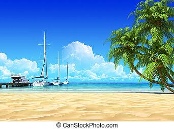 Marina pier and palms