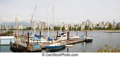 marina, por, vanier, parque, em, vancouver, bc, canadá