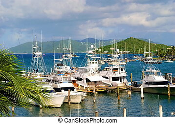 This marina on St. Thomas is home to yachts and sailors or all types. Located in the area of Red Hook, this bustling vacation spot offers tourists a chance to view the beauty of the sport on the Caribbean sea.
