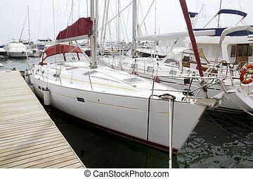 Marina sailboats in Formentera Balearic Islands