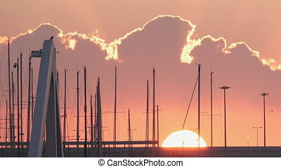 Marina sailing masts at sunrise with sun and clouds - Top of...