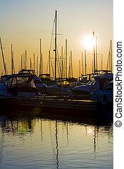 Marina Silhouettes at Sunrise