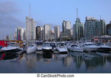 marina, skyline., &, vancouver, bc