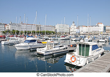 marina in the city of La Coru?a ( Spain )
