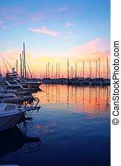 marina sunrise sunset sport boat colorful Mediterranean view...