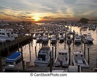 A marina at sunset along the Jersey shore.