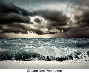 marina, tempesta, vista