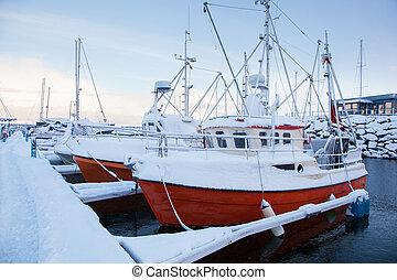marina, trondheim, inverno, vista