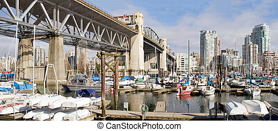 Marina Under the Burrard Bridge in Vancouver BC
