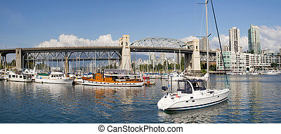 Marina under the Burrard Street Bridge Vancouver BC