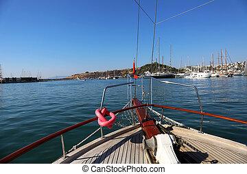marina, viaggio, barca, bodrum