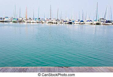 Marina with yacht