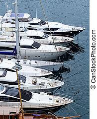 marina with yachts, symbolic photo for water sports, luxury holiday