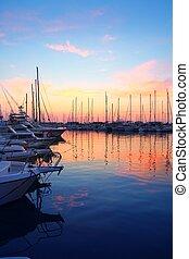 marina, wschód słońca, zachód słońca, sport, łódka, barwny