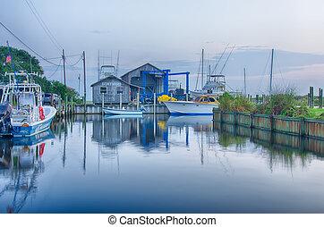 marina, yard, bateau