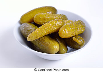 Marinaded Cucumbers in the white plate