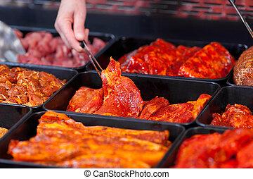 marinaded, kött, för, grilla