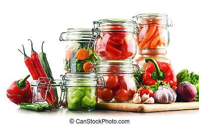 marinado, alimento, vegetales, aislado, crudo, tarros, blanco