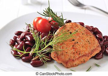 marinado, corte, cerdo, frijoles, rojo