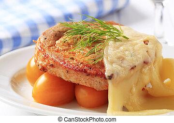 marinado, rematado, cerdo, queso, suizo