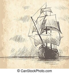 marinaio, ancorare, mare, tema