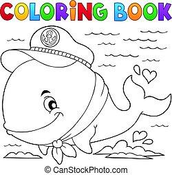 marinaio, balena, libro, coloritura