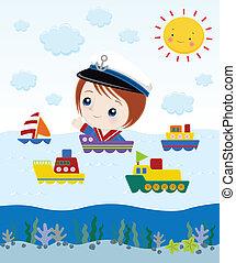 marinaio, cartone animato
