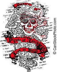 marinaio, fiore, cranio
