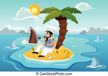 marinaio, incagliato, in, un, isola