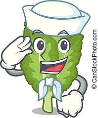 marinaio, mustrad, verde, mascotte, islated