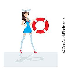 marinaio, pin-up, ragazza, -