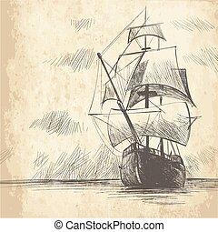 marinaio, tema, mare, ancorare