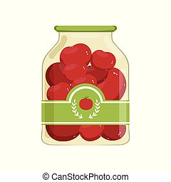 marinated, apartamento, cooking., vetorial, tomatoes., ingredientes, cartaz, marca, ou, jarro, alimento., vidro, enlatado, desenho, banco, voador, vegetal, label., caricatura, vermelho
