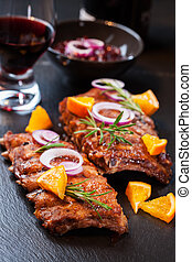 Marinated BBQ spare ribs - BBQ spare ribs marinated in...