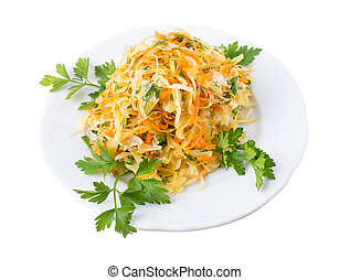 Marinated cabbage and carrots.