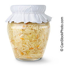 Marinated cabbage (sauerkraut) in glass jar isolated on ...