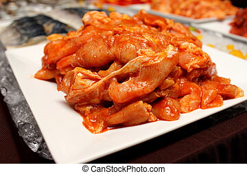 marinated chicken - A Closeup of marinated sliceed chicken...