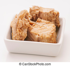 marinated, chunks, фарфор, isolated, тунец