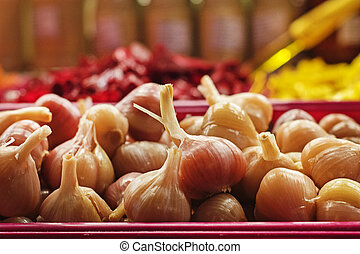 marinated garlic for sale in the farmer's market