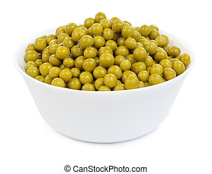 Marinated green peas in bowl isolated