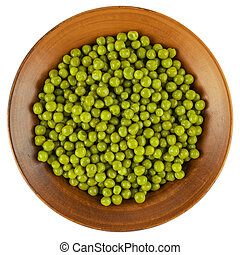 Marinated green peas in bowl isolated on white background.
