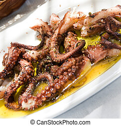 marinated grilled octopus taverna food specialty greek ...