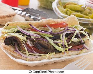 Marinated Lamb Kebab In A Pitta Bread