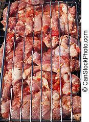 Marinated meat kebab on grill