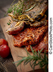 Marinated meat - Raw marinated meat with fresh vegetables...