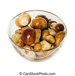 marinated mushrooms on a plate